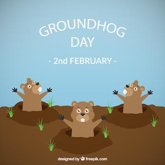 Groundhog day divertente illustrazione