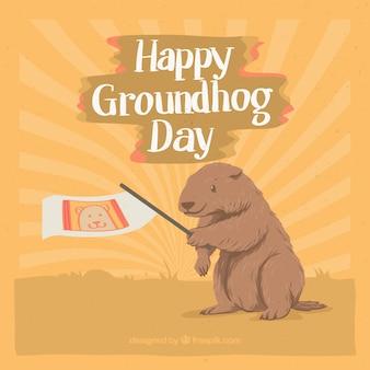 Groundhog day vintage background