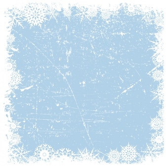 Grounge cornice fiocchi di neve su sfondo ghiacciata