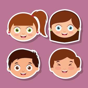 Group litlle kids faces espressione sorridente