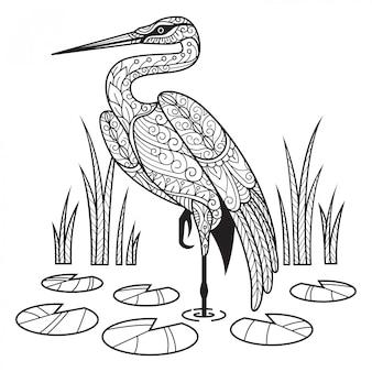 Gru. illustrazione di schizzo disegnato a mano per libro da colorare per adulti