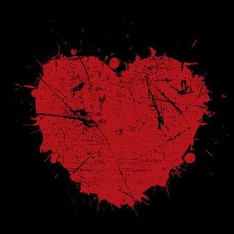 Grunge cuore rosso di sfondo