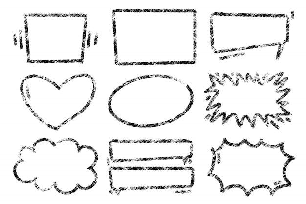 Grunge disegnato a mano incornicia varie forme.