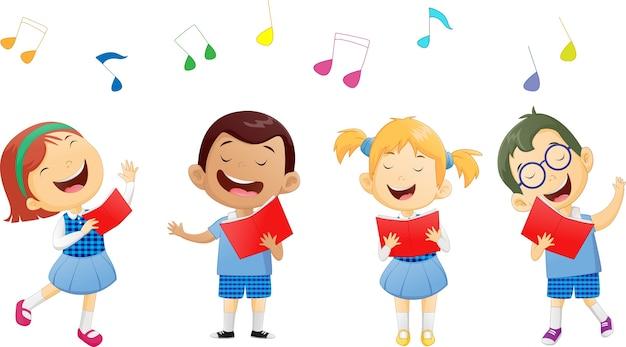 Gruppi di bambini delle scuole che cantano in coro