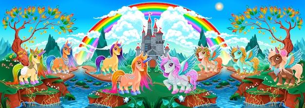 Gruppi di unicorni e pegasi in un paesaggio fantastico