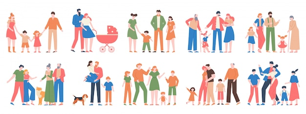 Gruppi familiari. ami i ritratti di famiglia, le famiglie tradizionali, la madre, il padre, i bambini felici, l'insieme dell'illustrazione dei caratteri delle diverse generazioni. madre felice padre insieme, collezione di ritratti