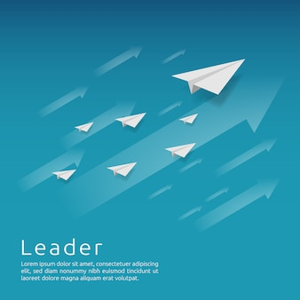 Gruppo aereo di carta che vola con la freccia