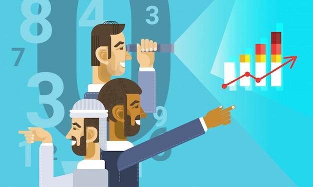 Gruppo arabo dell'uomo di affari che mostra rapporto del grafico del grafico di finanza