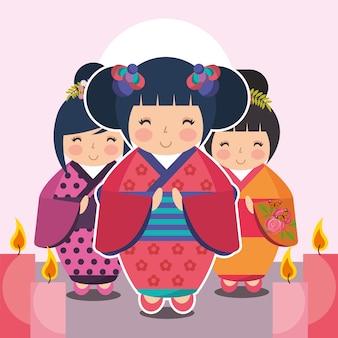 Gruppo carino bambola giapponese kokeshi in kimono