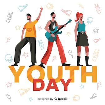 Gruppo di adolescenti rocker celebrando la giornata della gioventù su design piatto