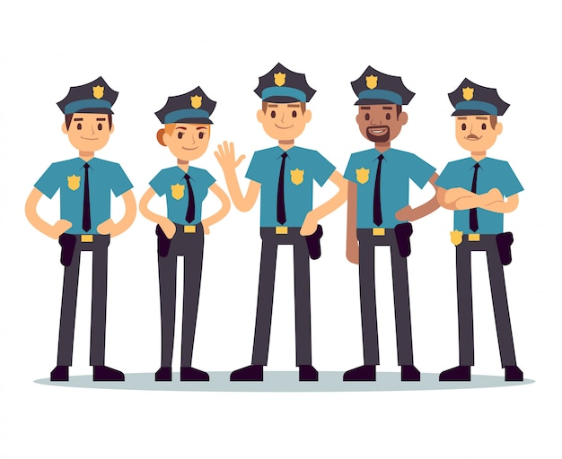 Gruppo di agenti di polizia. poliziotti donna e uomo vettoriale caratteri