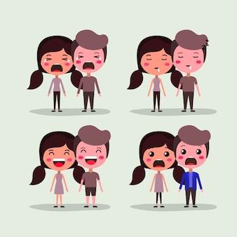 Gruppo di amanti coppie personaggi