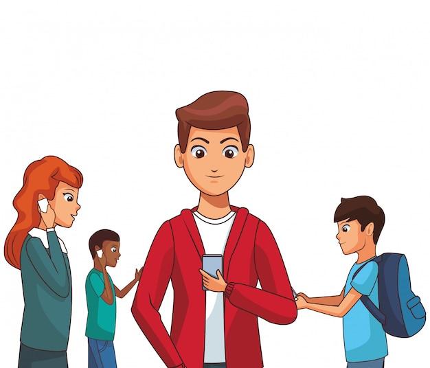 Gruppo di amici cartoon