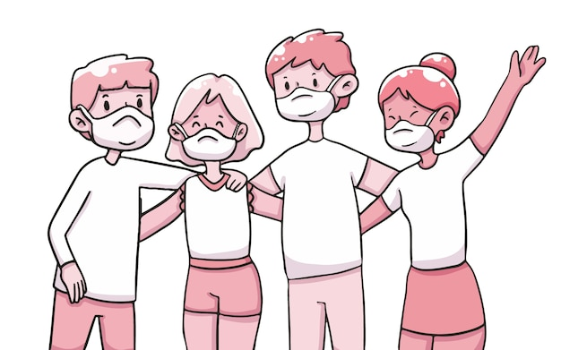 Gruppo di amici che indossano maschera covid-19 illustrazione