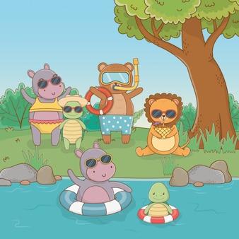 Gruppo di animali cartoni animati nella foresta