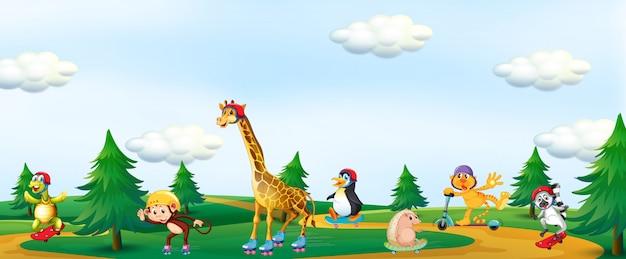 Gruppo di animali che giocano al parco