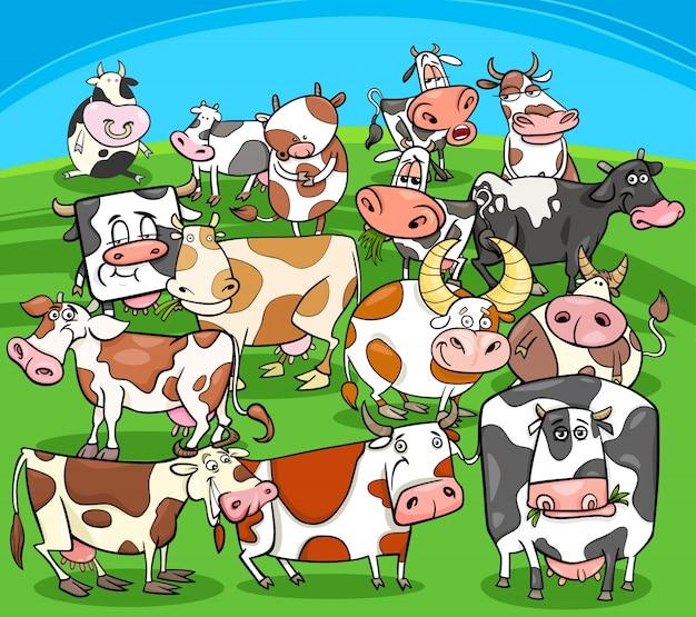 Gruppo di animali da fattoria di mucche dei cartoni animati