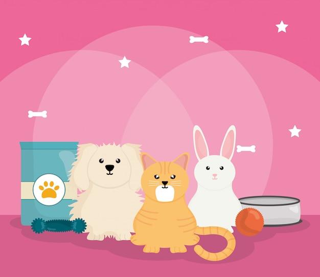 Gruppo di animali domestici con il cibo