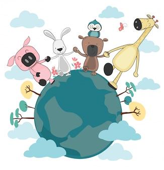 Gruppo di animali felici che tengono e che camminano sulla terra