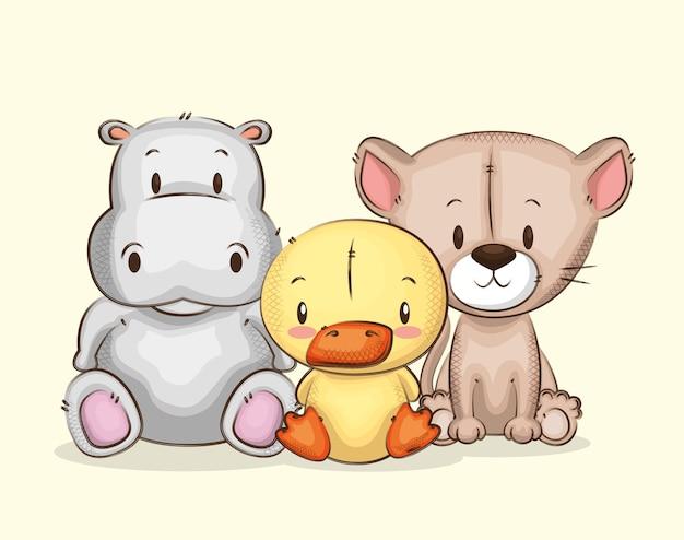 Gruppo di animali piccoli e simpatici