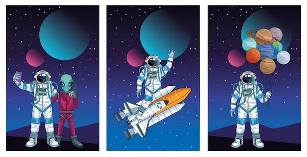 Gruppo di astronauti nell'illustrazione dei caratteri dello spazio