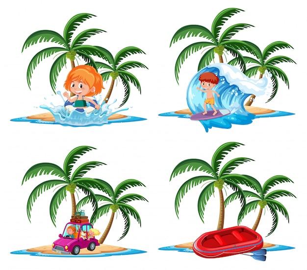 Gruppo di attività di vacanza sul personaggio dei cartoni animati tropicale dell'isola su fondo bianco