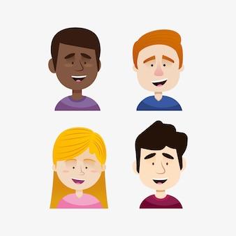 Gruppo di avatar di persone diverse