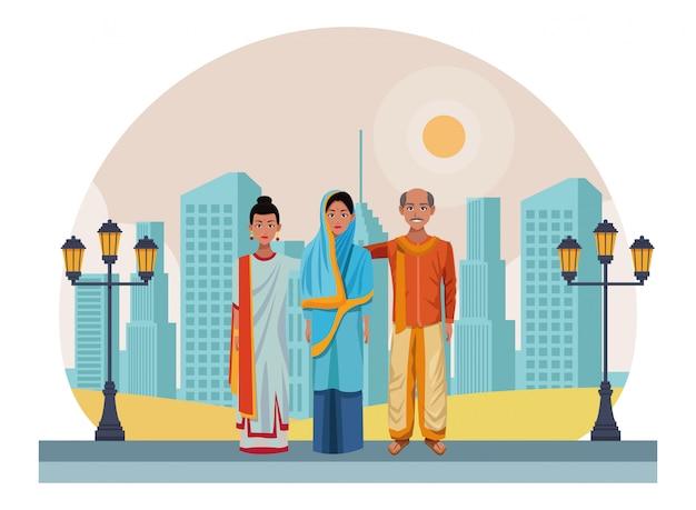 Gruppo di avatar di popolo indiano
