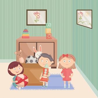 Gruppo di bambini che giocano con i giocattoli nella stanza