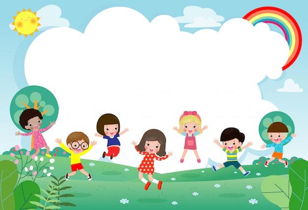 Gruppo di bambini che saltano, ritorno a scuola, scuola per bambini, concetto di educazione, i bambini vanno a scuola, modello per brochure pubblicitarie, testo, bambini e cornice, bambino e cornice, illustrazione