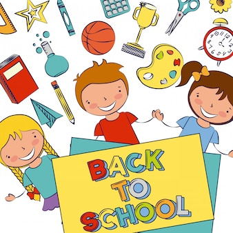 Gruppo di bambini felici con elementi di scuola, torna a scuola, illustrazione modificabile