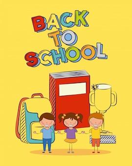 Gruppo di bambini felici intorno al libro, ritorno a scuola, illustrazione modificabile