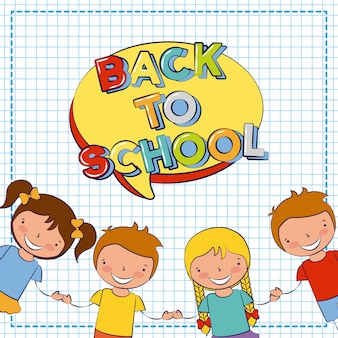 Gruppo di bambini felici, ritorno a scuola, illustrazione modificabile
