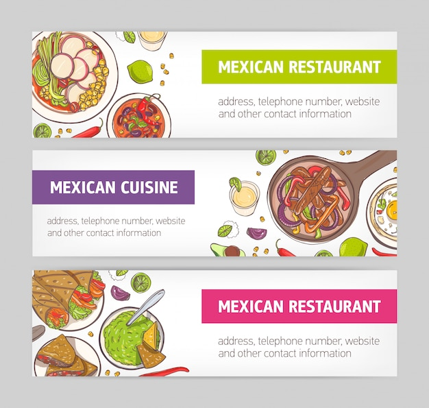 Gruppo di banner web orizzontali con piatti nazionali della cucina messicana e posto per il testo