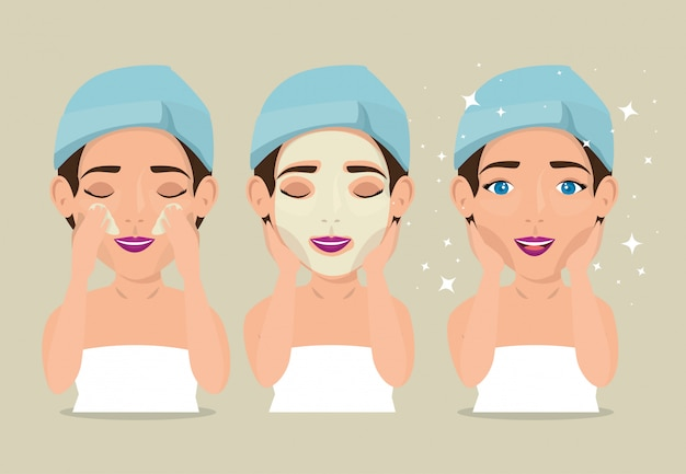 Gruppo di belle donne nel trattamento del viso