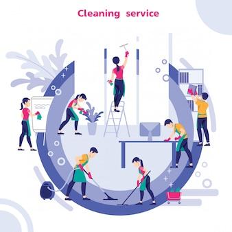 Gruppo di bidelli in uniforme che pulisce l'ufficio con attrezzature per la pulizia,