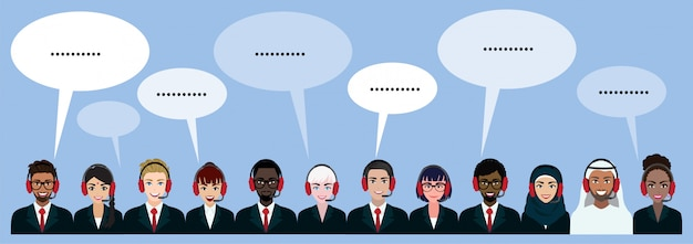 Gruppo di call center, assistenza clienti, helpdesk o concetto di servizio. persone di nazionalità diverse. personaggio dei cartoni animati o design piatto vettoriale