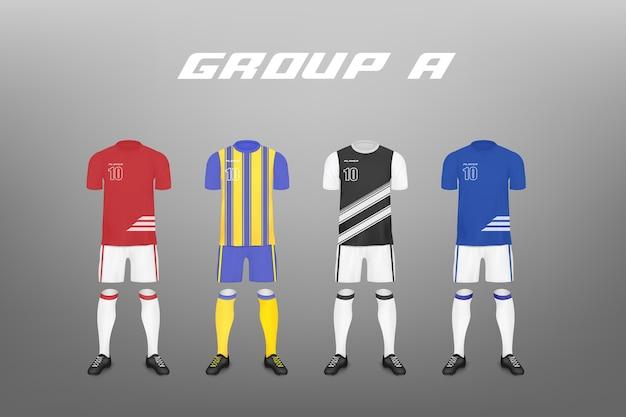 Gruppo di campionato di calcio un set di jersey di giocatori della squadra di quattro modelli illustrazione realistica sullo sfondo abbigliamento sportivo per club di calcio.