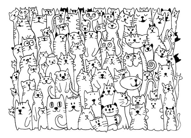 Gruppo di cani doodle di disegno a mano