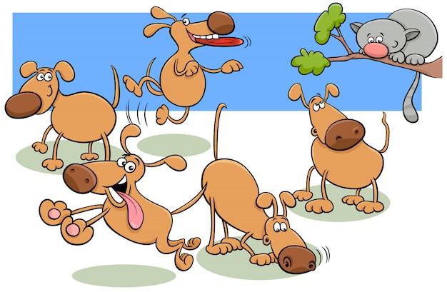 Gruppo di cani nell'illustrazione del fumetto del parco