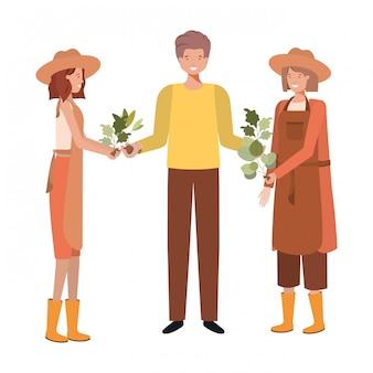 Gruppo di carattere avatar giardinieri