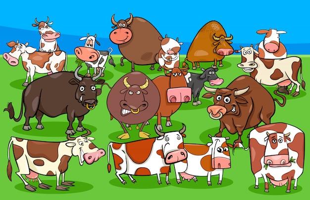Gruppo di caratteri di animali da fattoria di mucche e tori