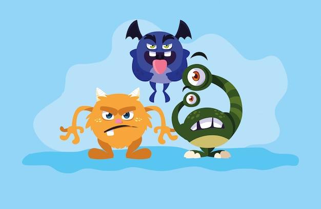 Gruppo di cartoni animati di mostri
