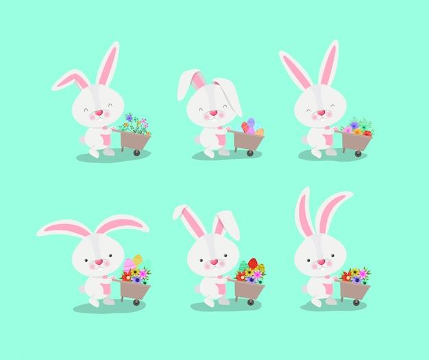 Gruppo di conigli carini con carriole e fiori