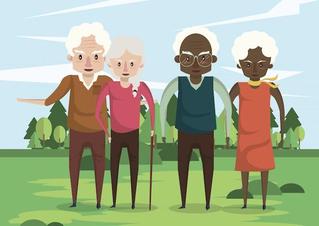 Gruppo di coppie di nonni interrazziali nel campo