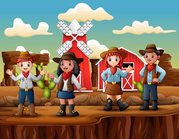 Gruppo di cowboy e cowgirl nella fattoria del selvaggio west