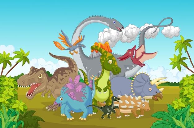 Gruppo di dinosauro del fumetto con la montagna