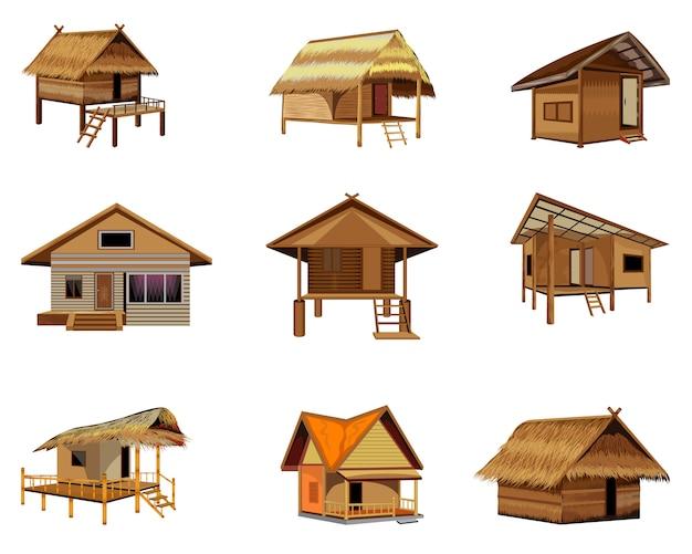 Gruppo di disegno vettoriale di capanna di paglia