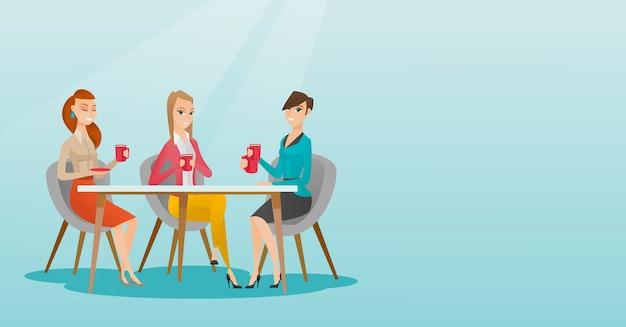 Gruppo di donne che bevono bevande calde e alcoliche.
