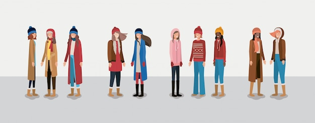 Gruppo di donne con abiti invernali